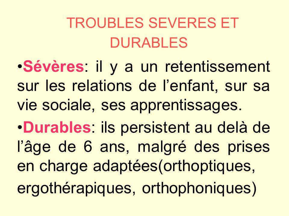 TROUBLES SEVERES ET DURABLES Sévères: il y a un retentissement sur les relations de lenfant, sur sa vie sociale, ses apprentissages.