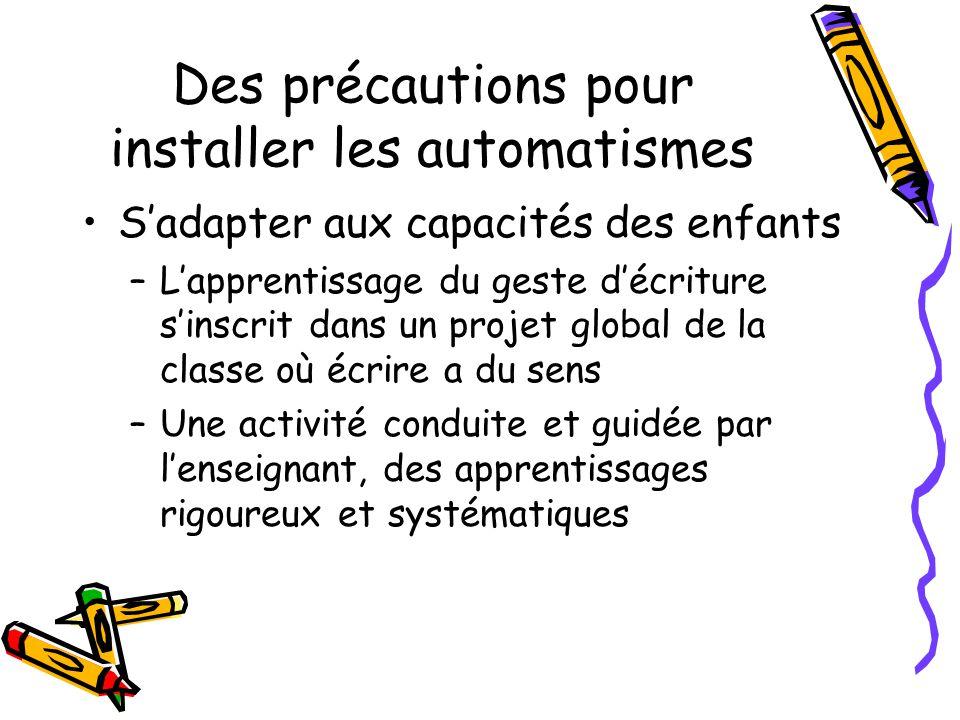 Des précautions pour installer les automatismes Sadapter aux capacités des enfants –Lapprentissage du geste décriture sinscrit dans un projet global d