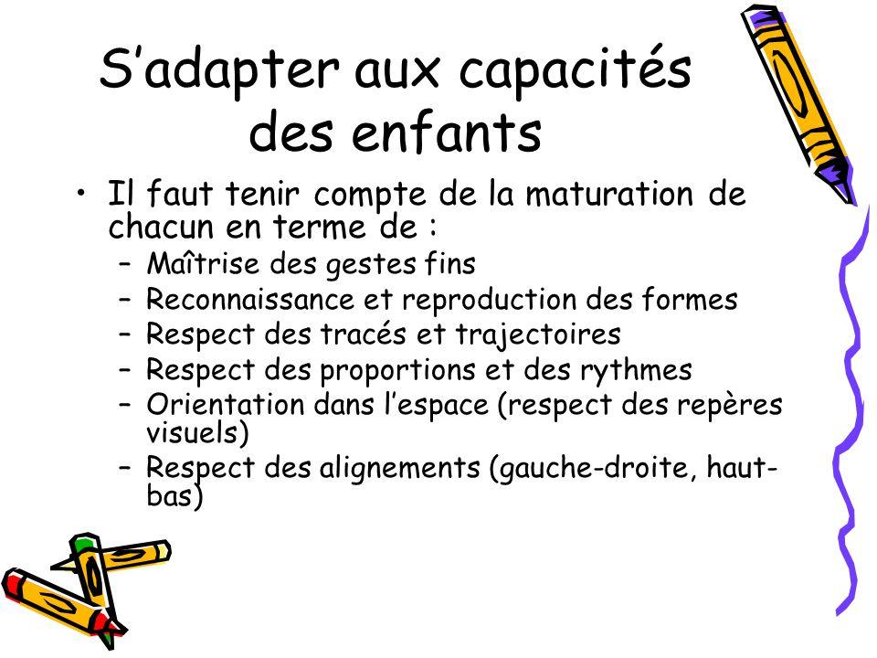 Sadapter aux capacités des enfants Il faut tenir compte de la maturation de chacun en terme de : –Maîtrise des gestes fins –Reconnaissance et reproduc