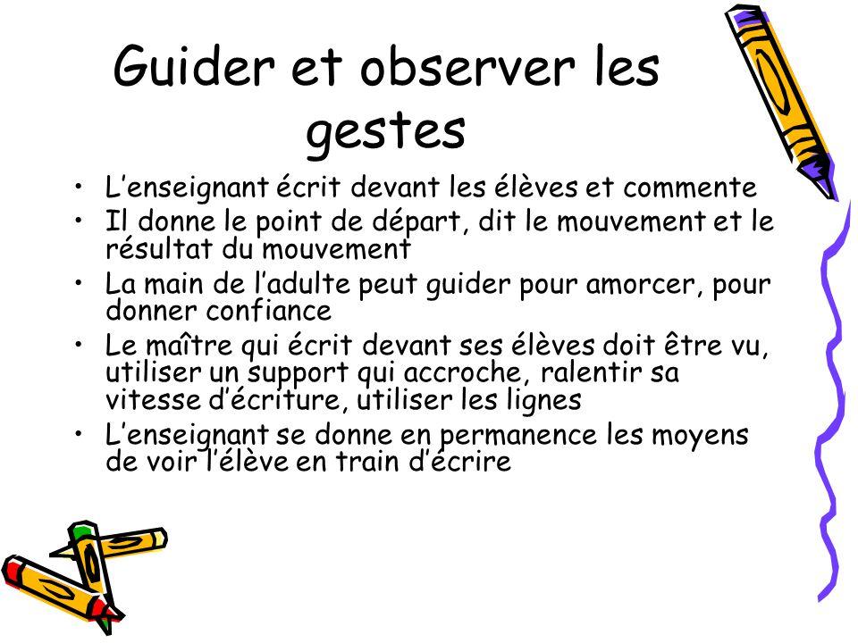 Guider et observer les gestes Lenseignant écrit devant les élèves et commente Il donne le point de départ, dit le mouvement et le résultat du mouvemen