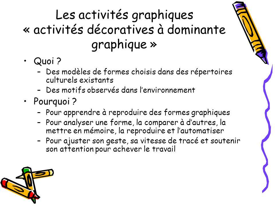 Les activités graphiques « activités décoratives à dominante graphique » Quoi ? –Des modèles de formes choisis dans des répertoires culturels existant