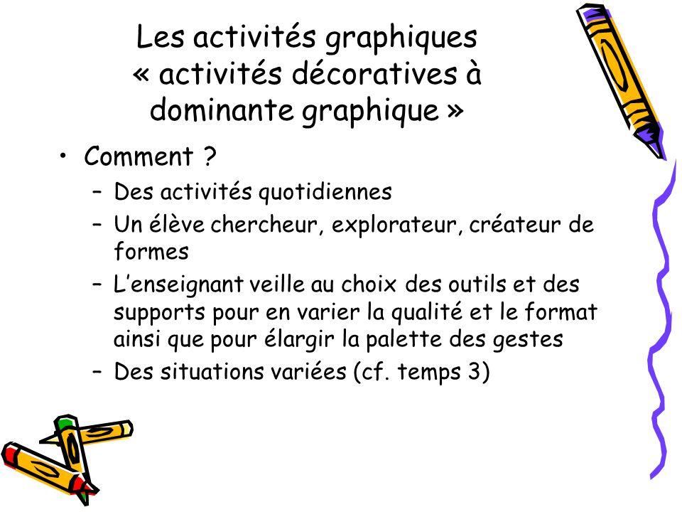Les activités graphiques « activités décoratives à dominante graphique » Comment ? –Des activités quotidiennes –Un élève chercheur, explorateur, créat