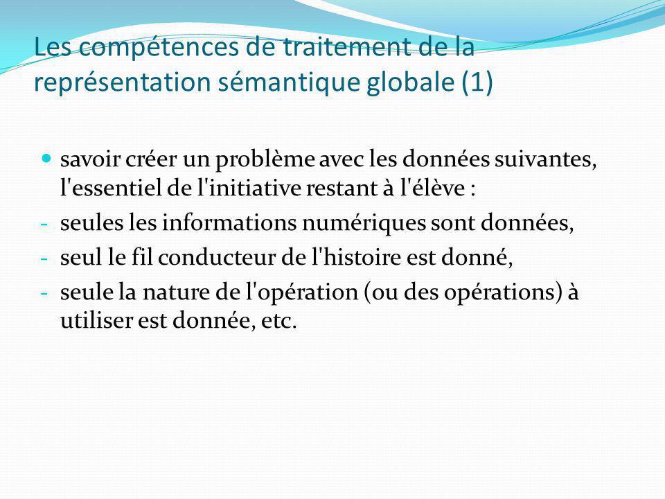 Les compétences de traitement de la représentation sémantique globale (1) savoir créer un problème avec les données suivantes, l'essentiel de l'initia