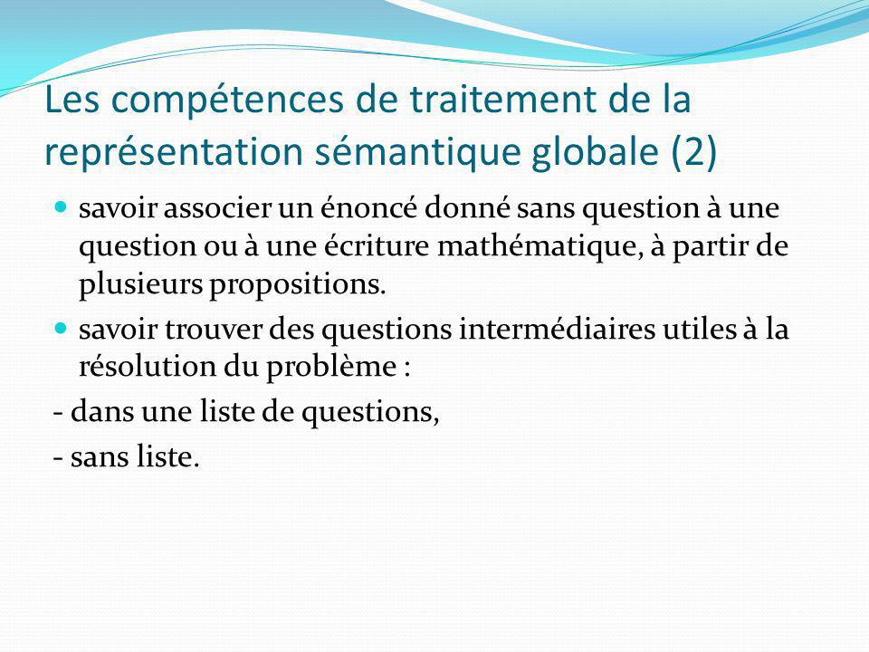 Les compétences de traitement de la représentation sémantique globale (2) savoir associer un énoncé donné sans question à une question ou à une écriture mathématique, à partir de plusieurs propositions.