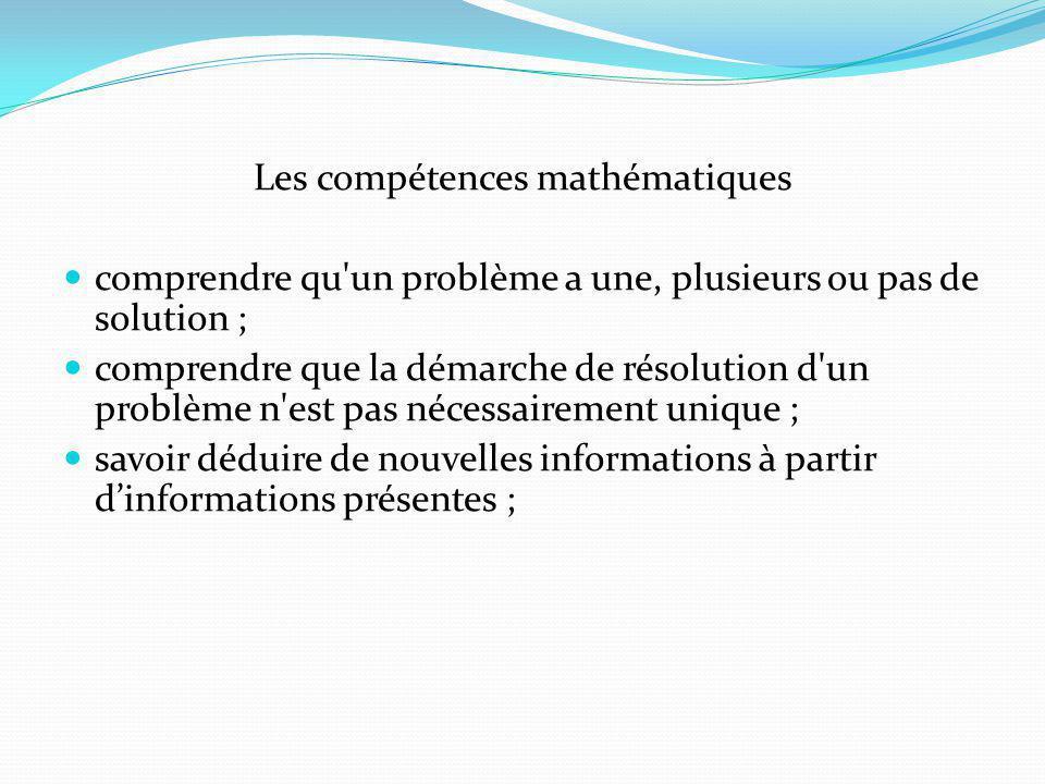 Les compétences mathématiques comprendre qu un problème a une, plusieurs ou pas de solution ; comprendre que la démarche de résolution d un problème n est pas nécessairement unique ; savoir déduire de nouvelles informations à partir dinformations présentes ;