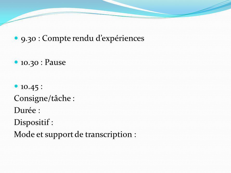 9.30 : Compte rendu dexpériences 10.30 : Pause 10.45 : Consigne/tâche : Durée : Dispositif : Mode et support de transcription :