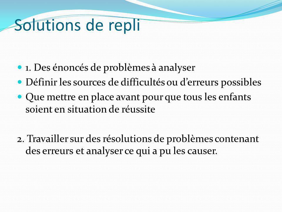 Solutions de repli 1. Des énoncés de problèmes à analyser Définir les sources de difficultés ou derreurs possibles Que mettre en place avant pour que