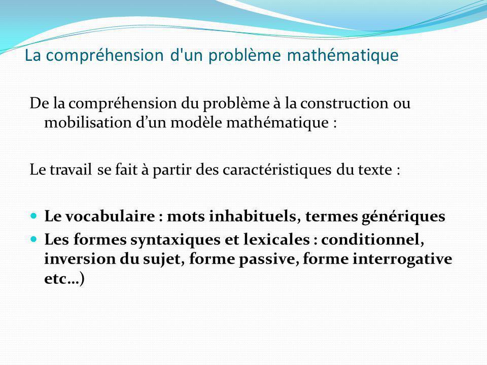 La compréhension d'un problème mathématique De la compréhension du problème à la construction ou mobilisation dun modèle mathématique : Le travail se