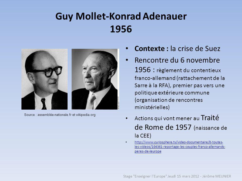 Guy Mollet-Konrad Adenauer 1956 Contexte : la crise de Suez Rencontre du 6 novembre 1956 : règlement du contentieux franco-allemand (rattachement de la Sarre à la RFA), premier pas vers une politique extérieure commune (organisation de rencontres ministérielles) Actions qui vont mener au Traité de Rome de 1957 (naissance de la CEE) http://www.curiosphere.tv/video-documentaire/0-toutes- les-videos/104361-reportage-les-couples-franco-allemands- peres-de-leurope http://www.curiosphere.tv/video-documentaire/0-toutes- les-videos/104361-reportage-les-couples-franco-allemands- peres-de-leurope Source : assemblée-nationale.fr et wikipedia.org Stage Enseigner l Europe Jeudi 15 mars 2012 - Jérôme MEUNIER
