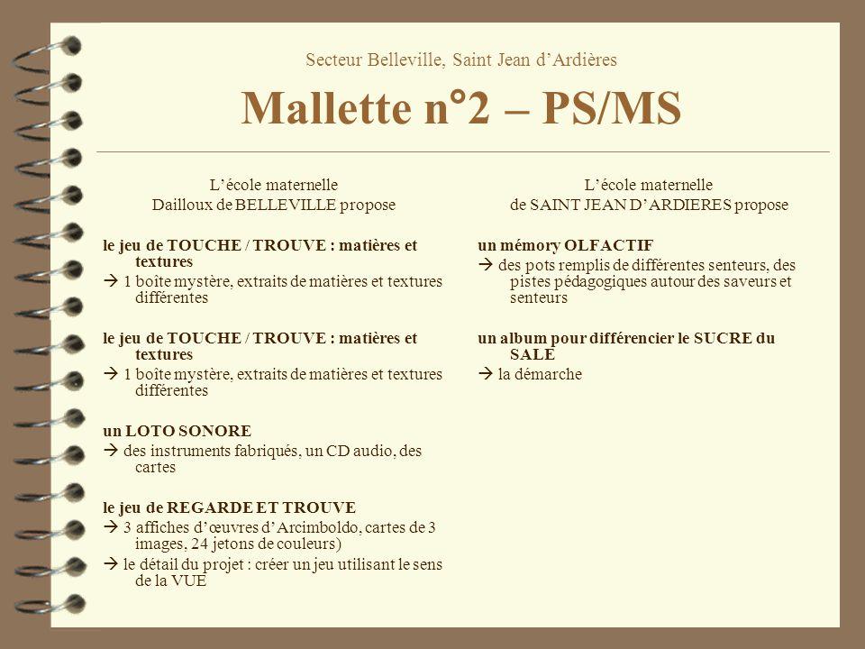 Secteur Belleville, Saint Jean dArdières Mallette n°2 – PS/MS Lécole maternelle Dailloux de BELLEVILLE propose le jeu de TOUCHE / TROUVE : matières et