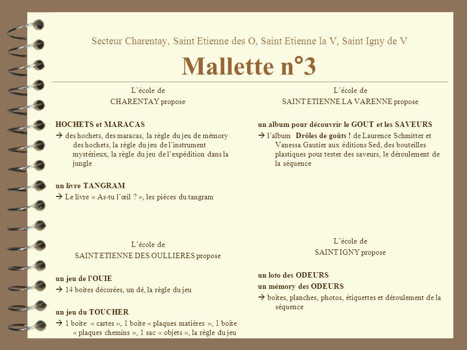 Secteur Charentay, Saint Etienne des O, Saint Etienne la V, Saint Igny de V Mallette n°3 Lécole de CHARENTAY propose HOCHETS et MARACAS des hochets, d