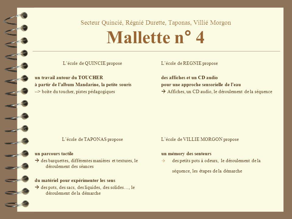 Secteur Quincié, Régnié Durette, Taponas, Villié Morgon Mallette n° 4 Lécole de QUINCIE propose un travail autour du TOUCHER à partir de lalbum Mandar