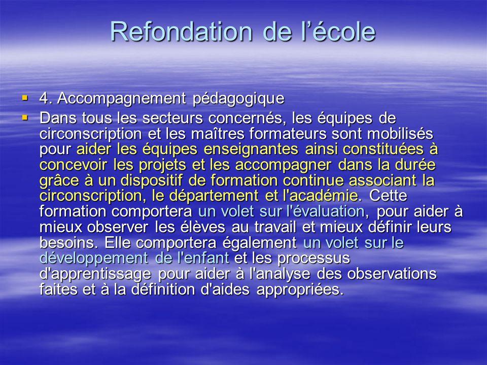 Refondation de lécole 4.Accompagnement pédagogique 4.