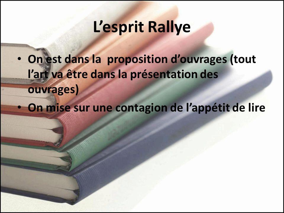 Lesprit Rallye On est dans la proposition douvrages (tout lart va être dans la présentation des ouvrages) On mise sur une contagion de lappétit de lire