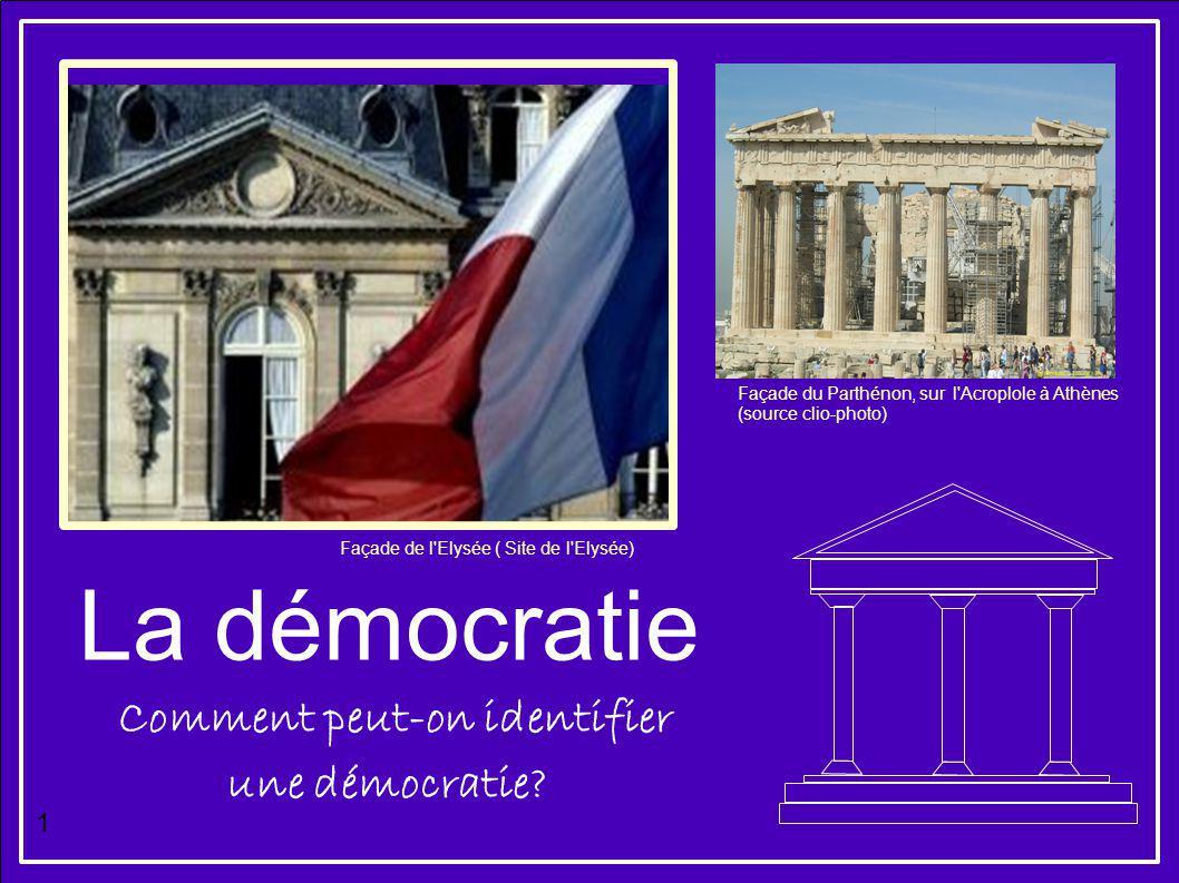 La démocratie Façade de l'Elysée ( Site de l'Elysée) Façade du Parthénon, sur l'Acroplole à Athènes (source clio-photo) Comment peut-on identifier une