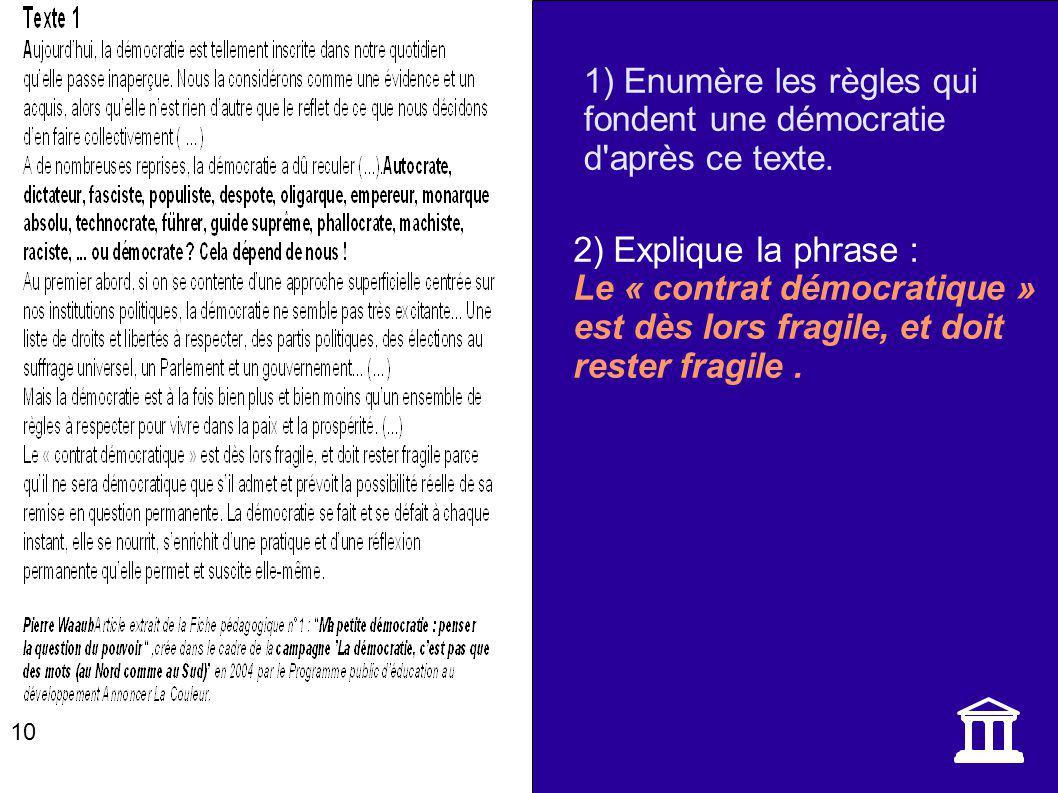 2) Explique la phrase : Le « contrat démocratique » est dès lors fragile, et doit rester fragile. 10