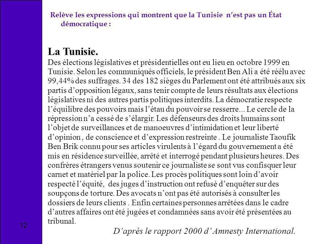 La Tunisie. Des élections législatives et présidentielles ont eu lieu en octobre 1999 en Tunisie. Selon les communiqués officiels, le président Ben Al