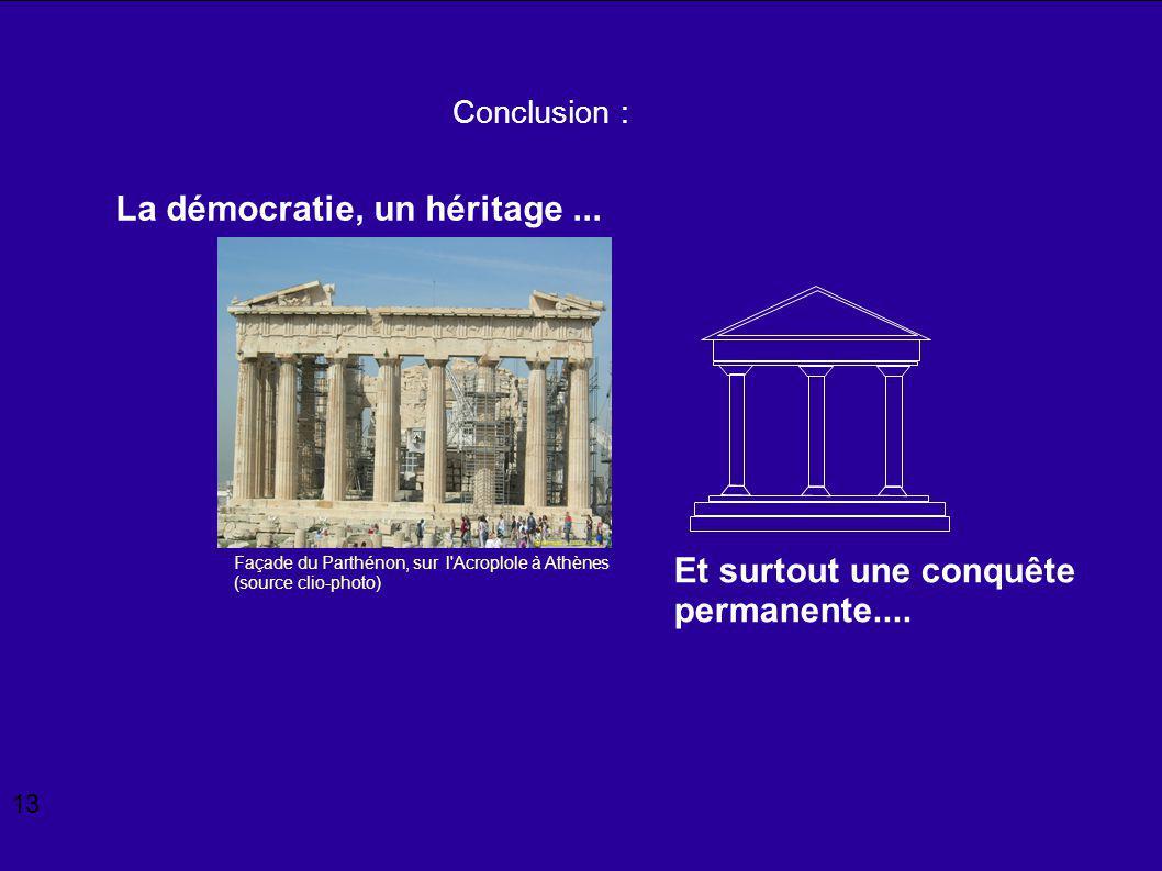 Façade du Parthénon, sur l'Acroplole à Athènes (source clio-photo) Conclusion : La démocratie, un héritage... Et surtout une conquête permanente.... 1