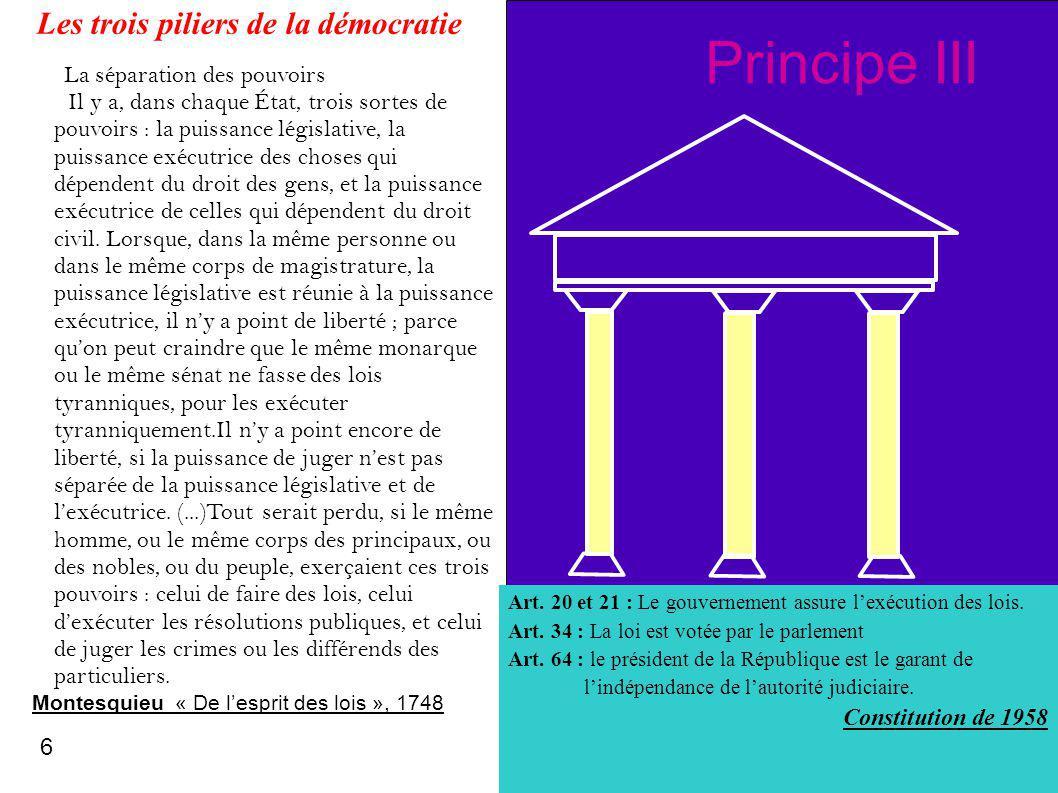 A BC Principe III Art. 20 et 21 : Le gouvernement assure lexécution des lois. Art. 34 : La loi est votée par le parlement Art. 64 : le président de la