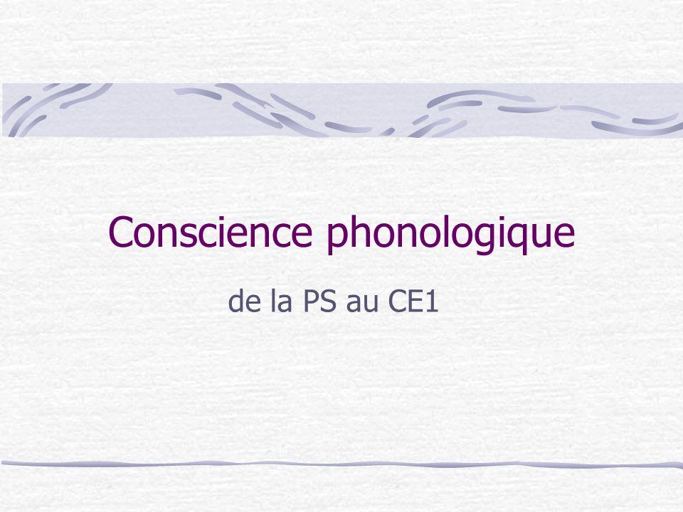Conscience phonologique de la PS au CE1