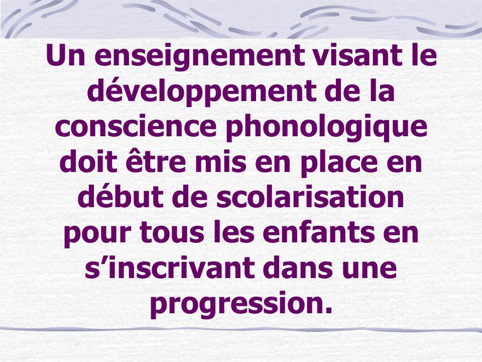 Un enseignement visant le développement de la conscience phonologique doit être mis en place en début de scolarisation pour tous les enfants en sinscr