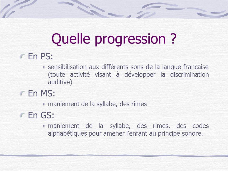 Quelle progression ? En PS: sensibilisation aux différents sons de la langue française (toute activité visant à développer la discrimination auditive)