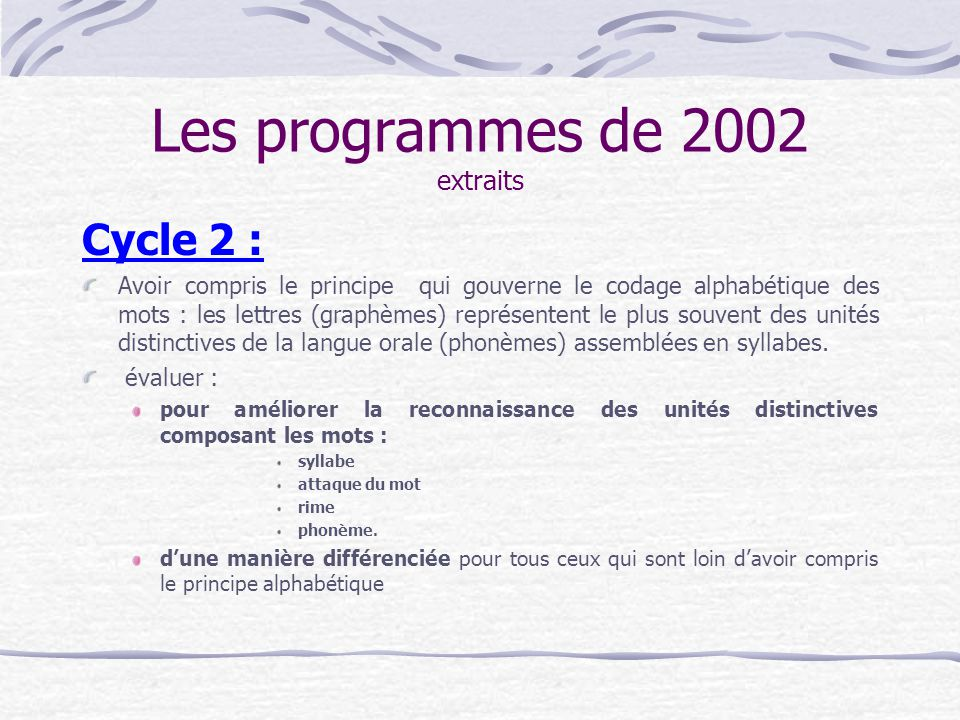 Les programmes de 2002 extraits Cycle 2 : Avoir compris le principe qui gouverne le codage alphabétique des mots : les lettres (graphèmes) représenten