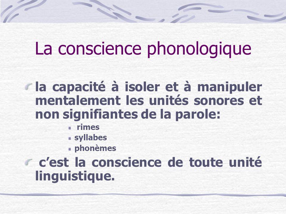 La conscience phonologique la capacité à isoler et à manipuler mentalement les unités sonores et non signifiantes de la parole: rimes syllabes phonème
