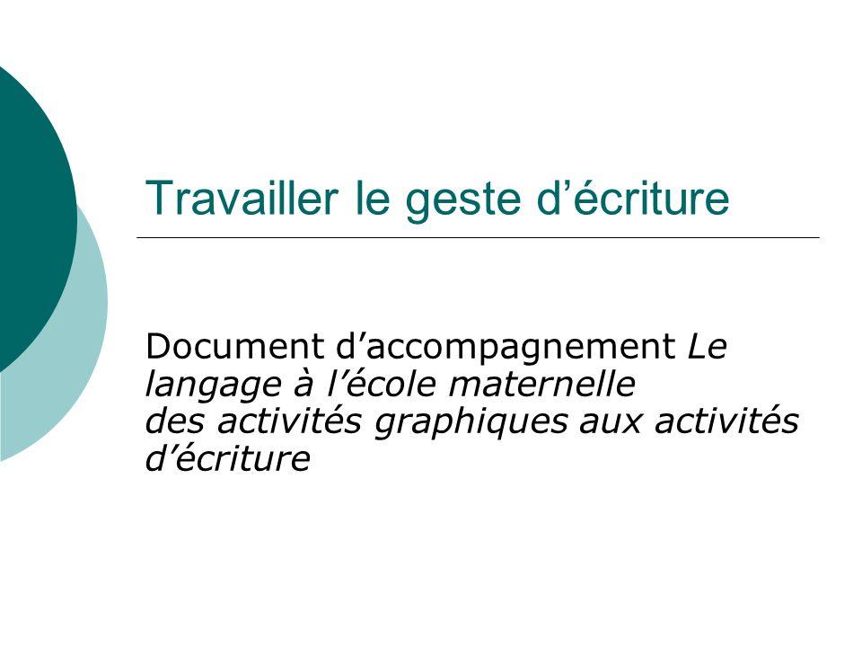 Travailler le geste décriture Document daccompagnement Le langage à lécole maternelle des activités graphiques aux activités décriture