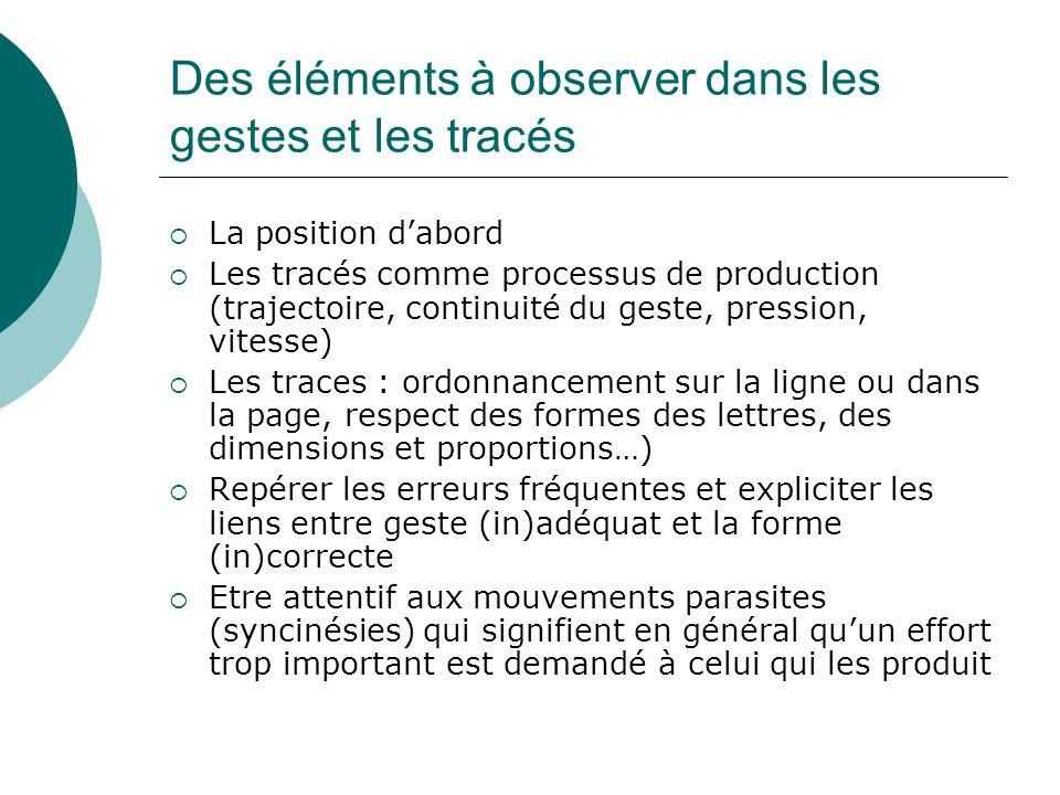 Des éléments à observer dans les gestes et les tracés La position dabord Les tracés comme processus de production (trajectoire, continuité du geste, p