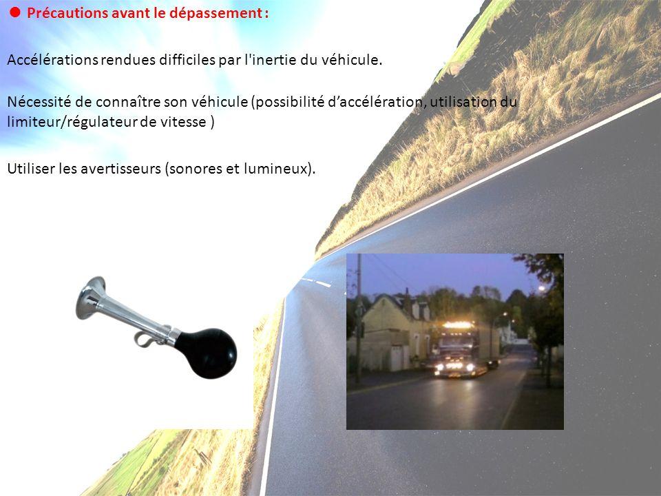 Précautions avant le dépassement : Accélérations rendues difficiles par l'inertie du véhicule. Nécessité de connaître son véhicule (possibilité daccél