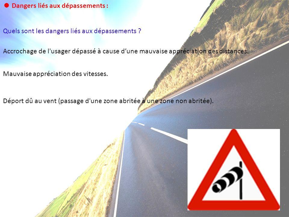 Dangers liés aux dépassements : Quels sont les dangers liés aux dépassements ? Accrochage de l'usager dépassé à cause dune mauvaise appréciation des d