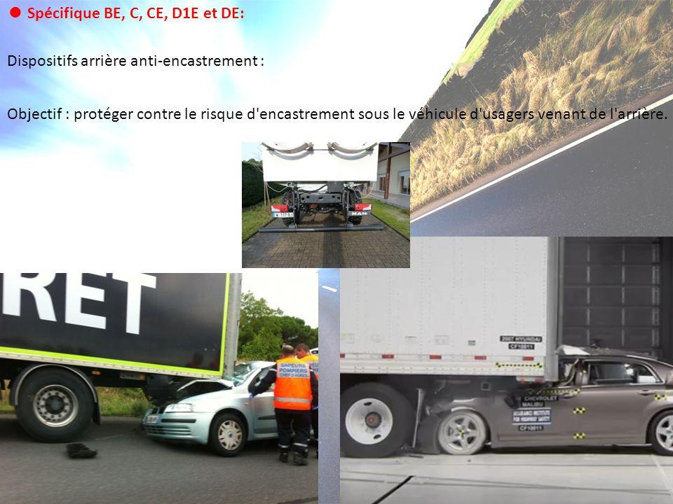 Dispositifs arrière anti-encastrement : Objectif : protéger contre le risque d'encastrement sous le véhicule d'usagers venant de l'arrière. Spécifique