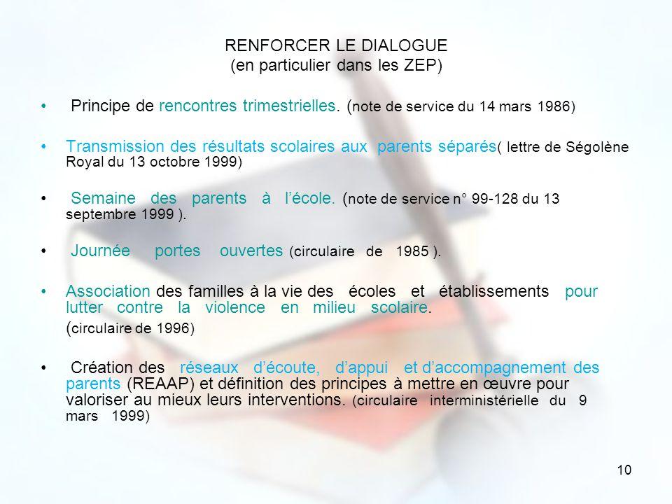 10 RENFORCER LE DIALOGUE (en particulier dans les ZEP) Principe de rencontres trimestrielles. ( note de service du 14 mars 1986) Transmission des résu