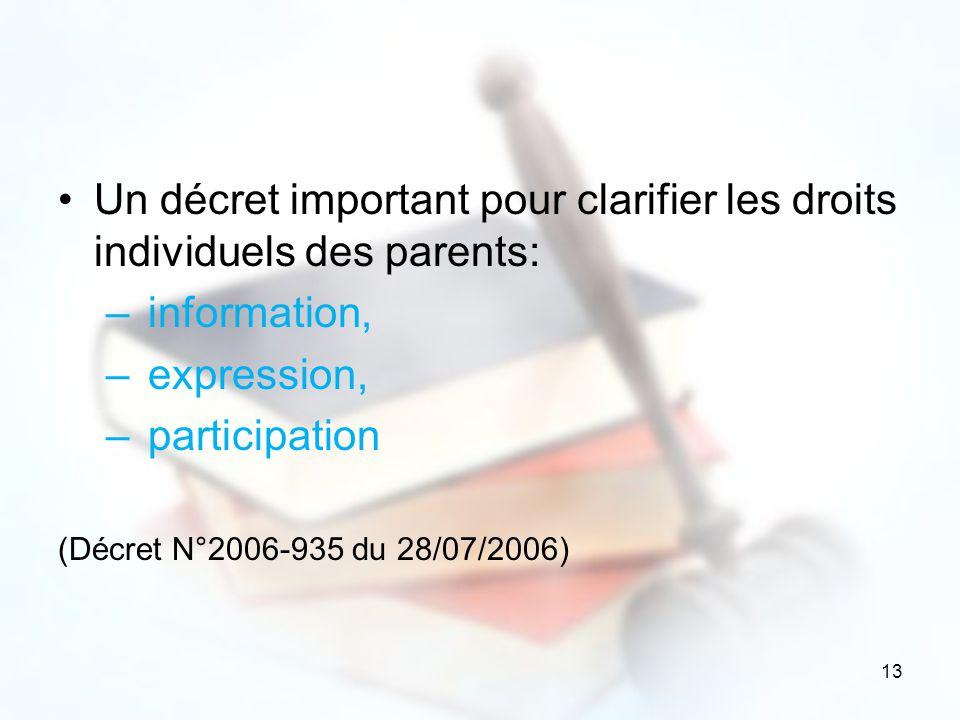 13 Un décret important pour clarifier les droits individuels des parents: – information, – expression, – participation (Décret N°2006-935 du 28/07/200