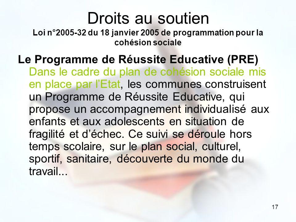 17 Droits au soutien Loi n°2005-32 du 18 janvier 2005 de programmation pour la cohésion sociale Le Programme de Réussite Educative (PRE) Dans le cadre