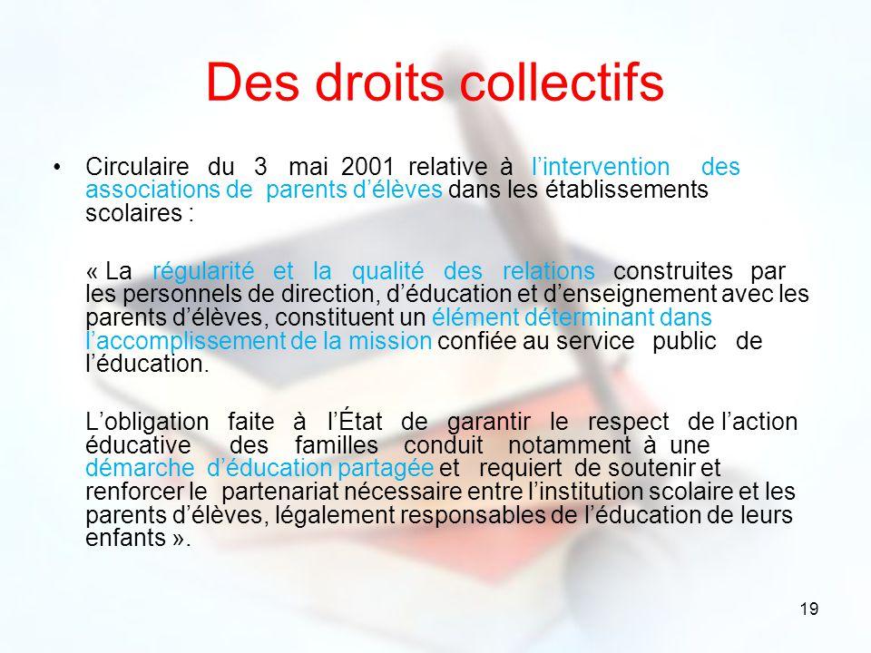 19 Des droits collectifs Circulaire du 3 mai 2001 relative à lintervention des associations de parents délèves dans les établissements scolaires : « L