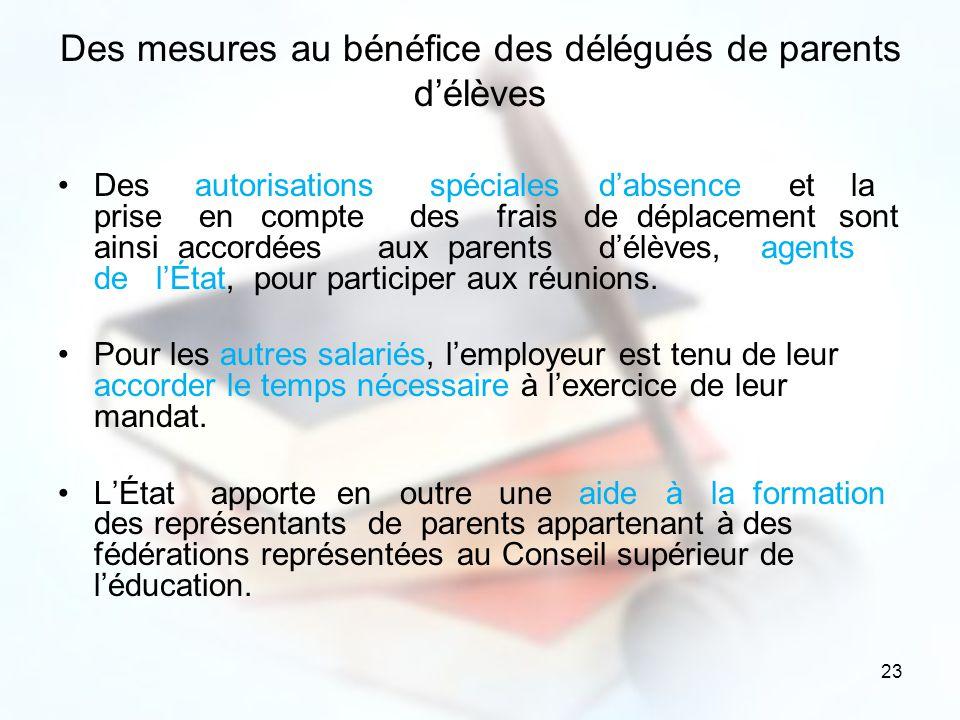 23 Des mesures au bénéfice des délégués de parents délèves Des autorisations spéciales dabsence et la prise en compte des frais de déplacement sont ai