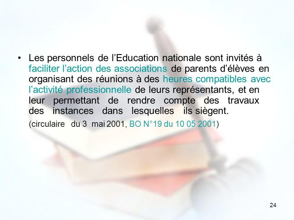 24 Les personnels de lEducation nationale sont invités à faciliter laction des associations de parents délèves en organisant des réunions à des heures