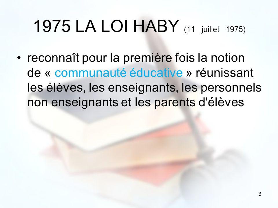 3 1975 LA LOI HABY (11 juillet 1975) reconnaît pour la première fois la notion de « communauté éducative » réunissant les élèves, les enseignants, les