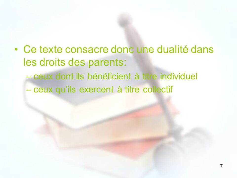 7 Ce texte consacre donc une dualité dans les droits des parents: –ceux dont ils bénéficient à titre individuel –ceux quils exercent à titre collectif