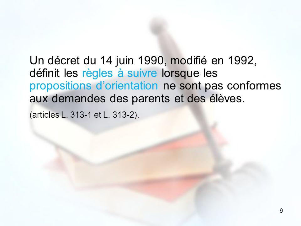 9 Un décret du 14 juin 1990, modifié en 1992, définit les règles à suivre lorsque les propositions dorientation ne sont pas conformes aux demandes des