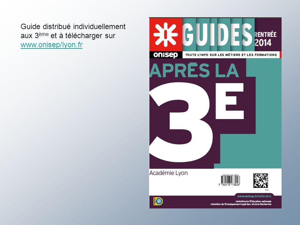 Guide distribué individuellement aux 3 ème et à télécharger sur www.onisep/lyon.fr
