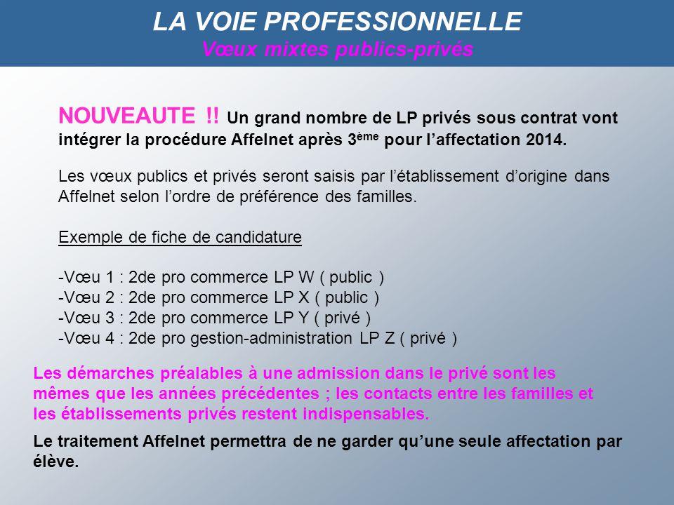 LA VOIE PROFESSIONNELLE Vœux mixtes publics-privés NOUVEAUTE !.