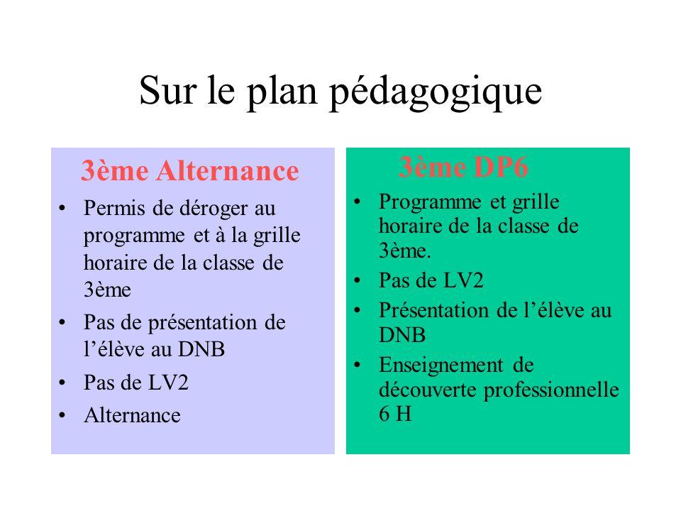 Sur le plan pédagogique 3ème Alternance Permis de déroger au programme et à la grille horaire de la classe de 3ème Pas de présentation de lélève au DNB Pas de LV2 Alternance 3ème DP6 Programme et grille horaire de la classe de 3ème.