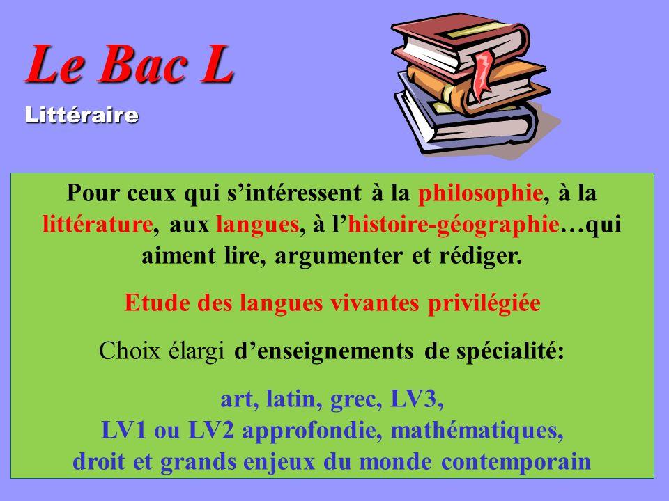 Le Bac L Littéraire Pour ceux qui sintéressent à la philosophie, à la littérature, aux langues, à lhistoire-géographie…qui aiment lire, argumenter et rédiger.
