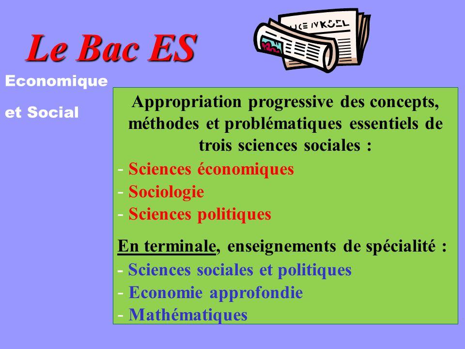 Le Bac ES Economique et Social Appropriation progressive des concepts, méthodes et problématiques essentiels de trois sciences sociales : - Sciences économiques - Sociologie - Sciences politiques En terminale, enseignements de spécialité : - Sciences sociales et politiques - Economie approfondie - Mathématiques