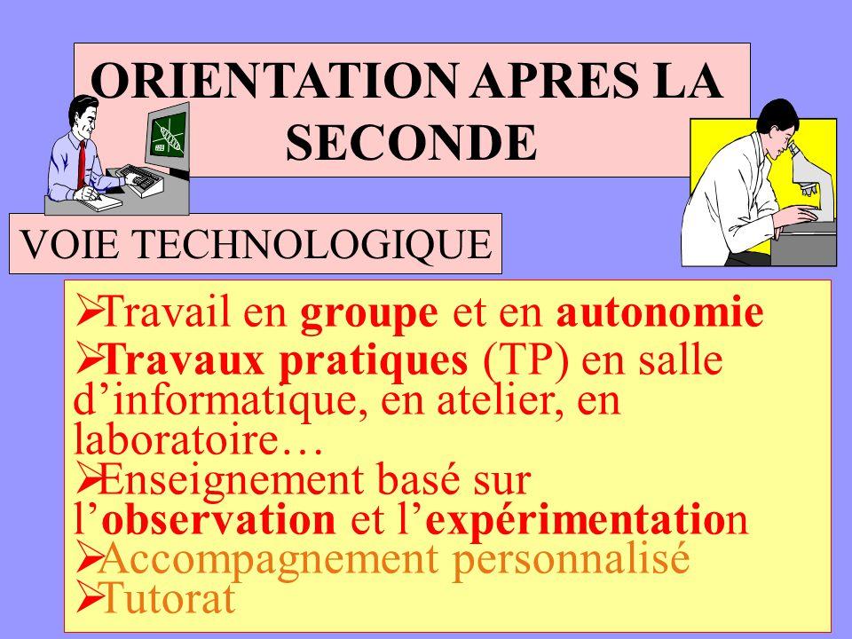 ORIENTATION APRES LA SECONDE VOIE TECHNOLOGIQUE Travail en groupe et en autonomie Travaux pratiques (TP) en salle dinformatique, en atelier, en labora