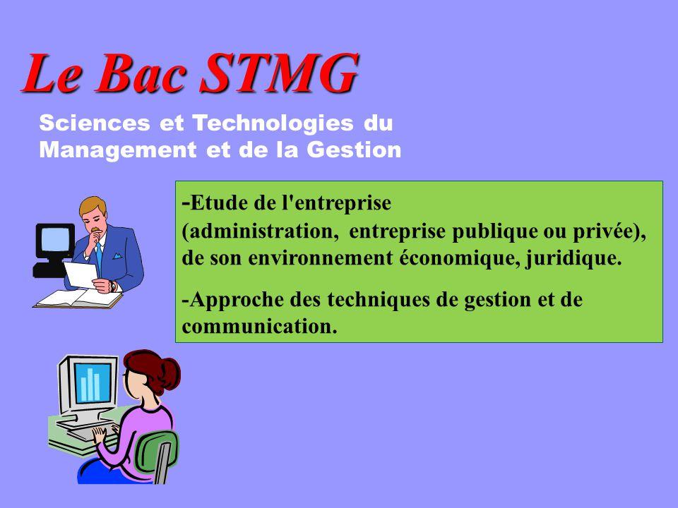 Le Bac STMG - Etude de l'entreprise (administration, entreprise publique ou privée), de son environnement économique, juridique. -Approche des techniq