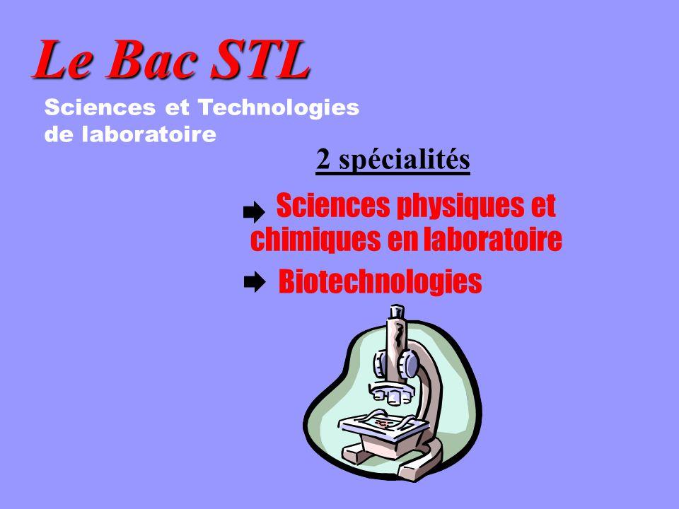 Le Bac STL Sciences et Technologies de laboratoire 2 spécialités Sciences physiques et chimiques en laboratoire Biotechnologies